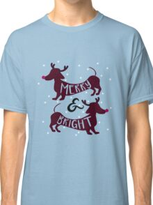Merry & Bright (Dachshund Sausage Dog) Classic T-Shirt