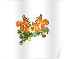Christmas cute squirrel and christmas tree. Poster