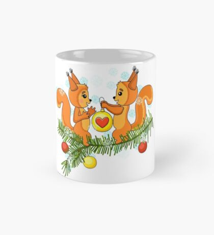 Christmas cute squirrel and christmas tree. Mug