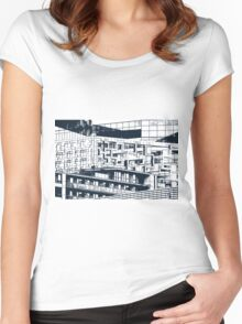 The Cube, Birmingham city centre UK architecture, digitally edited Women's Fitted Scoop T-Shirt