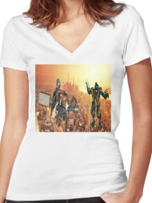 Defense of Planet Earth Women's Fitted V-Neck T-Shirt