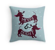 Merry & Bright (Dachshund Sausage Dog) Throw Pillow