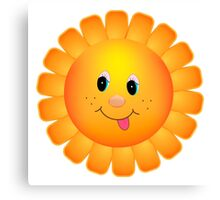 Cartoon Sun Flower Smile Canvas Print