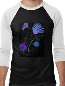 Blue and Purple Floral design Men's Baseball ¾ T-Shirt