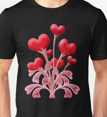 Valentines Love Blossoms Heart Flowers Unisex T-Shirt