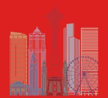 Seattle skyline poster One Piece - Short Sleeve
