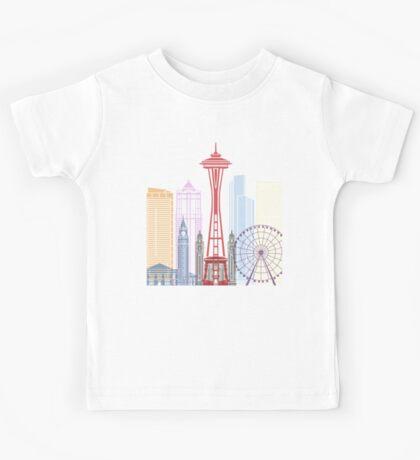 Seattle skyline poster Kids Tee