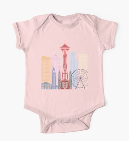 Seattle skyline poster One Piece - Short Sleeve