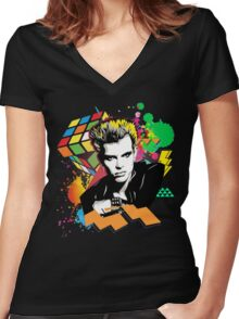 Billy Idol 80's Women's Fitted V-Neck T-Shirt