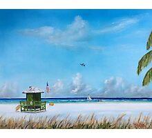 Green Lifeguard Stand On Siesta Key Photographic Print