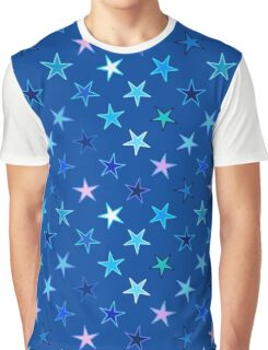 Twinkling Stars, Denim Blue and Turquoise Graphic T-Shirt