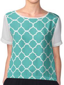 teal green pattern  Chiffon Top