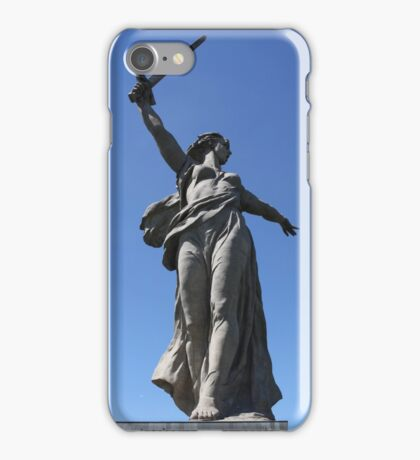 Giant sculpture of woman with sword iPhone Case/Skin