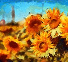 Sunflowers Van Gogh Style by Jim-Kayalar