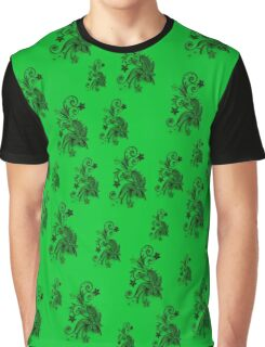 Green on green, flowers, ornament, asymetric floral design Graphic T-Shirt