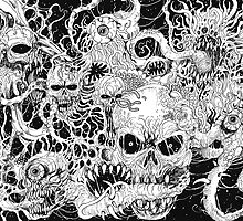 Evil Death Spawn Black And White Art by waynetully
