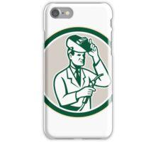Scientist Lab Researcher Welder Circle Retro iPhone Case/Skin