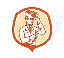 Scientist Lab Researcher Welder Shield Retro by patrimonio
