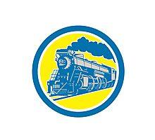 Steam Train Locomotive Circle Retro Photographic Print