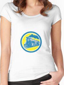 Steam Train Locomotive Circle Retro Women's Fitted Scoop T-Shirt