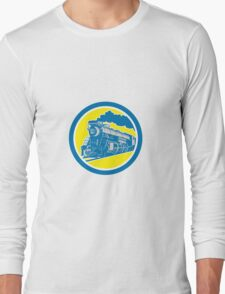 Steam Train Locomotive Circle Retro Long Sleeve T-Shirt