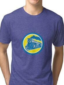 Steam Train Locomotive Circle Retro Tri-blend T-Shirt