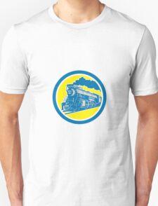 Steam Train Locomotive Circle Retro Unisex T-Shirt