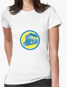 Steam Train Locomotive Circle Retro Womens Fitted T-Shirt