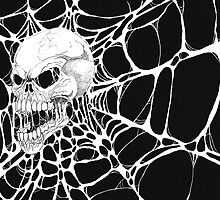 Web Skull Black And White Art by waynetully