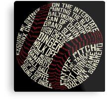 Baseball Slang Words Calligram Metal Print
