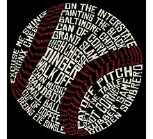 Baseball Slang Words Calligram Photographic Print