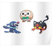 Pokemon Sun and Moon Starters Poster