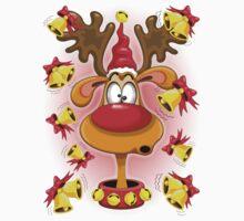 Reindeer Fun Christmas Cartoon with Bells Alarms Kids Tee