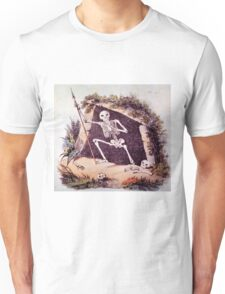 Cool Skeleton Holding a Spear in a Cave Unisex T-Shirt