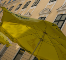 Vienna Street Life - Cheery Yellow Umbrellas at an Outdoor Cafe Sticker