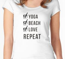 Yoga, Beach, Love, Repeat Women's Fitted Scoop T-Shirt