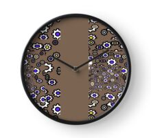 Multicolor gears on taupe pattern with border Clock