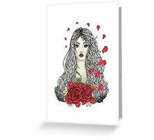Flying rose petals Greeting Card