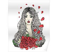 Flying rose petals Poster