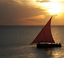 Red Sails in the Zanzibar Sunset, Tanzania by Adrian Paul