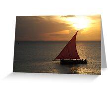 Red Sails in the Zanzibar Sunset, Tanzania Greeting Card
