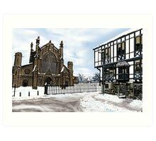 Snowy Cathedral Street Scene Art Print