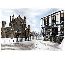 Snowy Cathedral Street Scene Poster