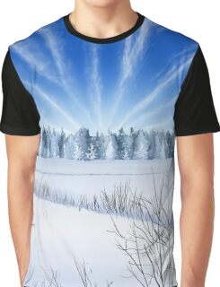 Winter Countryside Field Graphic T-Shirt