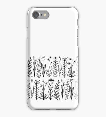 Einfaches Blumenmuster schwarz/weiß iPhone Case/Skin