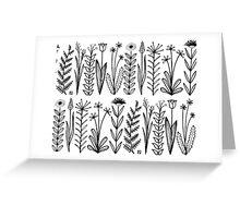 Einfaches Blumenmuster schwarz/weiß Greeting Card