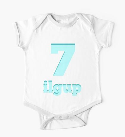 Baby learns Korean - number seven blue One Piece - Short Sleeve