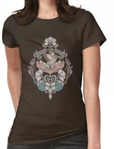 Woodland Birds - hand drawn vintage illustration pattern in neutral colors Womens Fitted T-Shirt