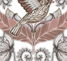 Woodland Birds - hand drawn vintage illustration pattern in neutral colors Sticker