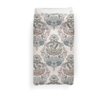 Woodland Birds - hand drawn vintage illustration pattern in neutral colors Duvet Cover